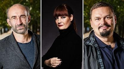 Måns Hirschfeldt, Lisa Wall och Roger Wilson programleder P1 Kultur. Foto: Micke Grönberg/SR