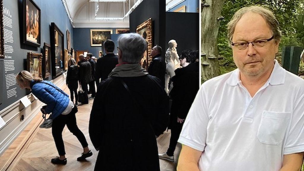 Personer tittar på konst på Nationalmuseum i Stockholm och ett porträtt av Kjell-Åke Gustavsson, chef för konsthallen i Hishult.