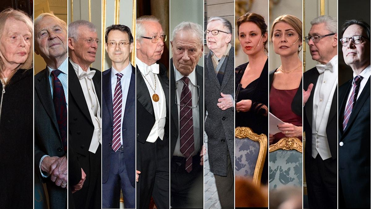 De elva ledamöter som sitter kvar i Svenska Akademien.