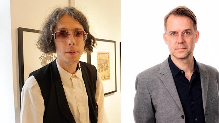 Gatukonstnären Dan Park och kulturredaktionens konstkritiker Mårten Arndtzén.
