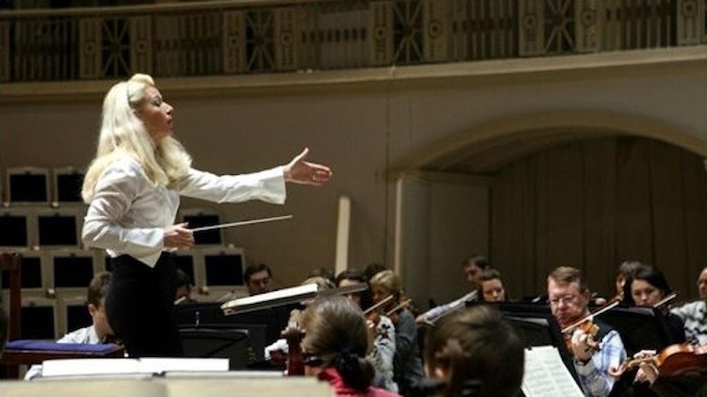 Maria Eklund, orkesterdirigent och ordförande i Kupp. Foto: Elena Sidyakina