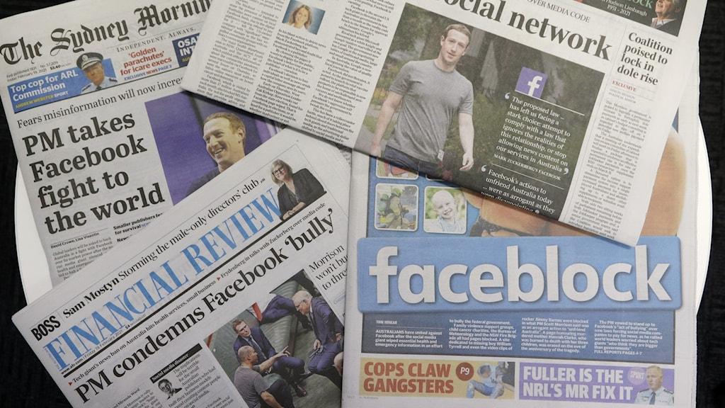 Australiensiska tidningar efter att de blockerats från Facebbok.