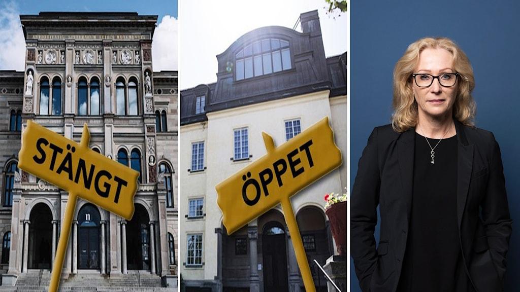 """Två museum med varsin skylt, """"stängt"""" och """"öppet"""". En kvinna står bredvid och tittar rakt in i kameran."""