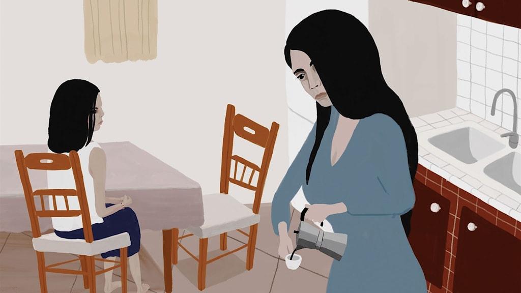 En bild av en flicka på en köksstol och en mamma som gör espresso.