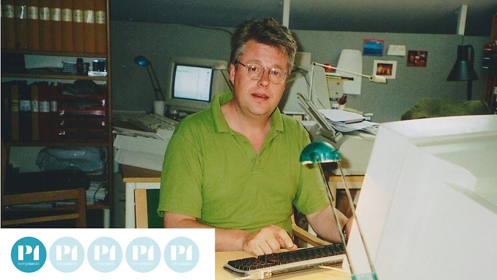 """Journalisten Stieg Larsson. Ur filmen """"Mannen som lekte med elden""""."""