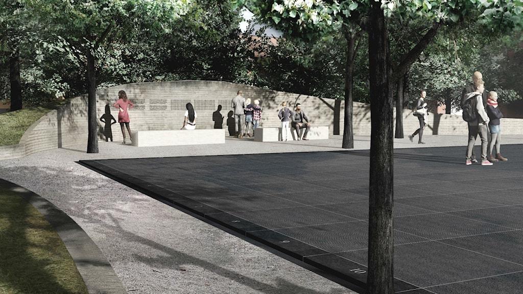 Jonas Dahlbergs förslag till minnesplatsen vid regeringskansliet i Oslo. Foto: Jonas Dahlberg