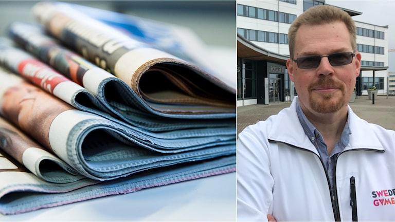 Torbjörn Svensson och en hög med tidningar.