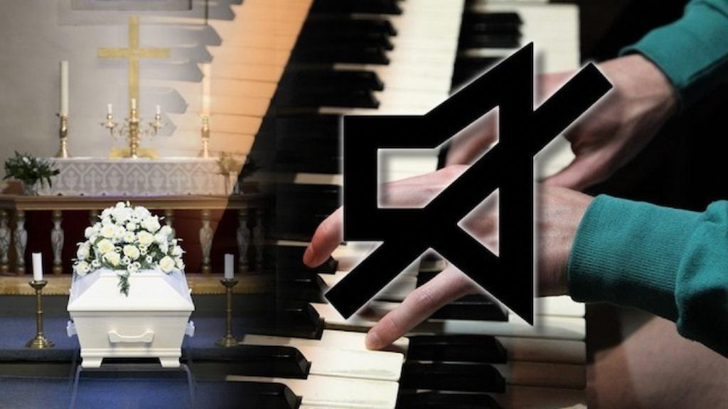 """En kista på en begravning och ett par händer som spelar på en orgel. Över händerna är det symbolen för """"mute"""", det vill säga """"tysta""""."""