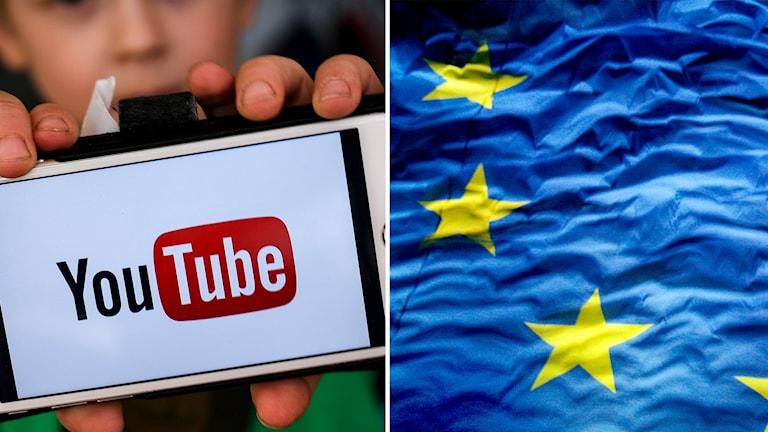 YouTube logga och EU:s flagga