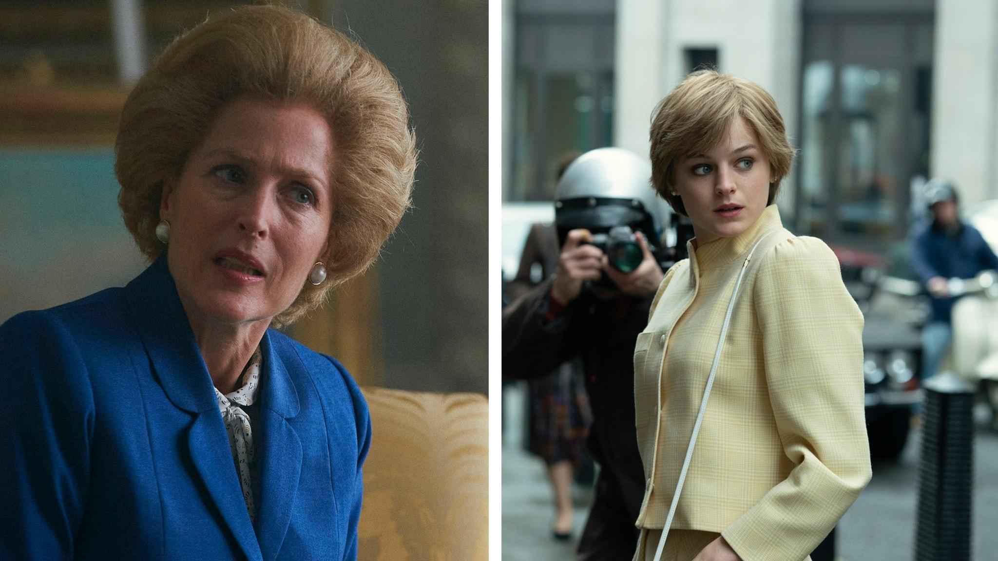 Gillian Anderson som Margaret Thatcher och Emma Corrin som Lady Diana i fjärde säsongen av The Crown.