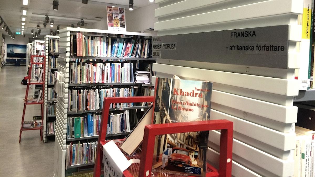 Böcker på franska av afrikanska författare på Internationella biblioteket.
