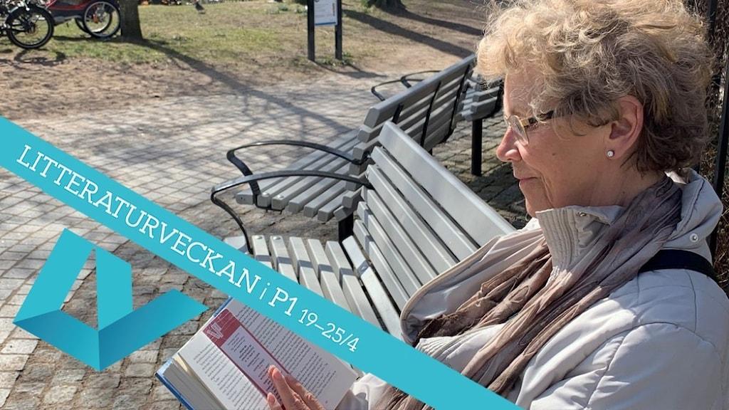 Yvonne Harbeck läser bok på parkbänk i solen.