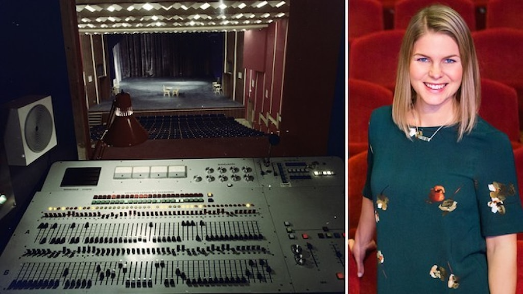 Ett mixerbord i en teatersalong och ett porträtt av Emelie Löfmark, klädd i grön tröja, stående i en teatersalong.