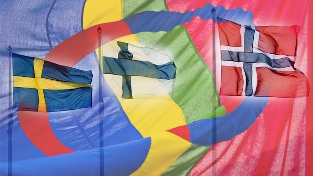Den samiska flaggan i bakgrunden som svenska, finska och norska flaggan framträder igenom den.
