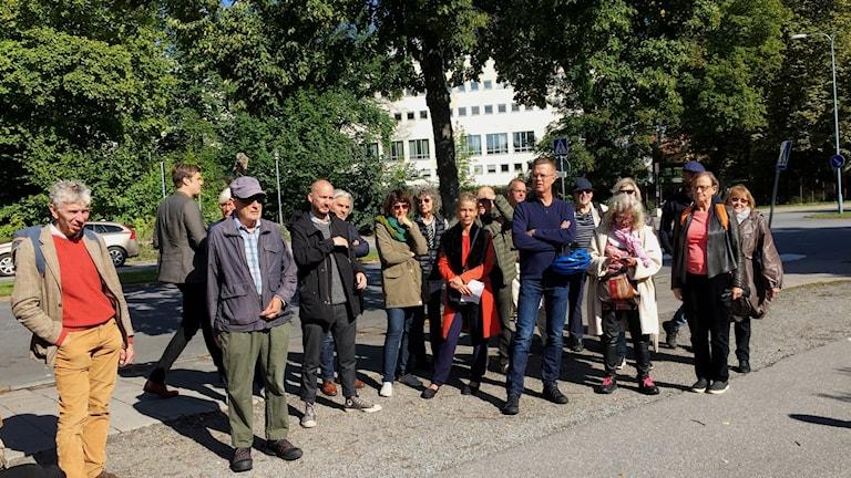 Representanter för bland annat Svenska författarförbundet, journalistförbundet och Svenska PEN. Foto: Berit Nygren/SR