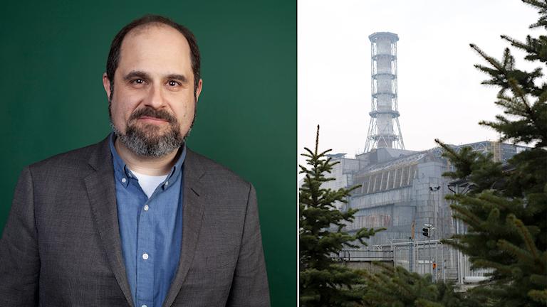 """""""Chernobyl""""-skaparen Craig Mazin och sarkofagen över reaktor 4 i Tjernobyl."""