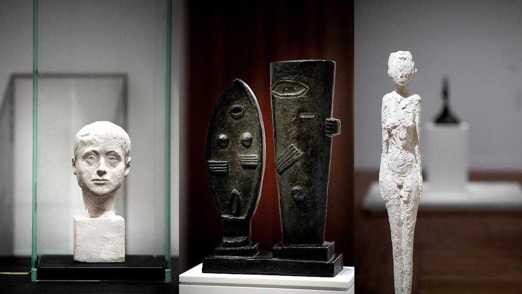 Skulpturer av Alberto Giacometti på MOderna Museet.