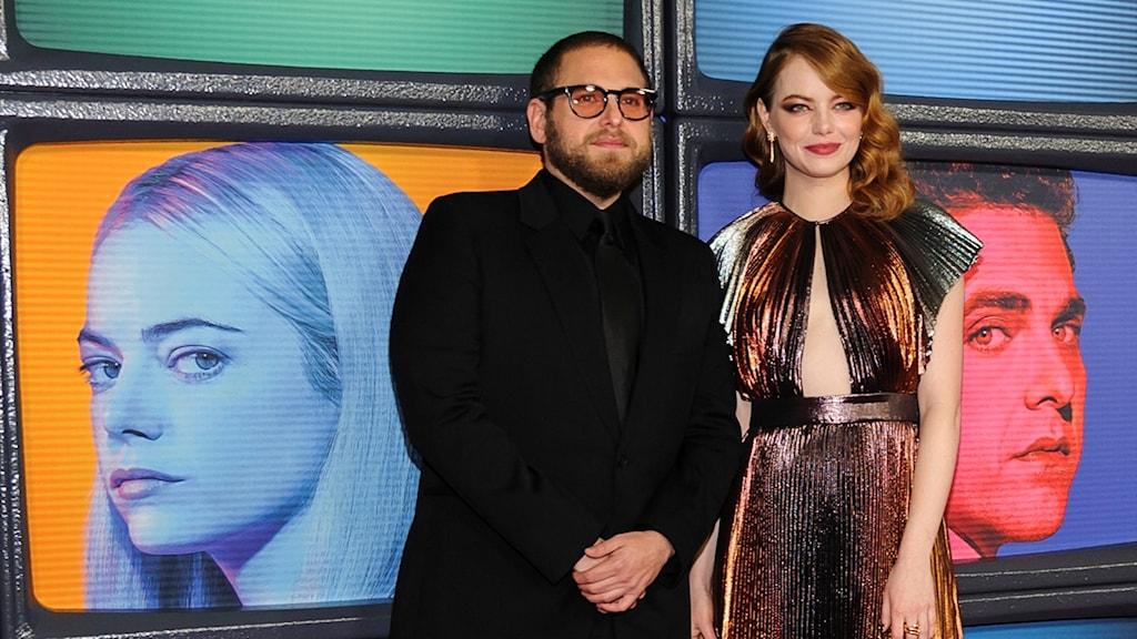 """Jonah Hill och Emma Stone på galapremiären för nya tv-serien """"Maniac""""."""