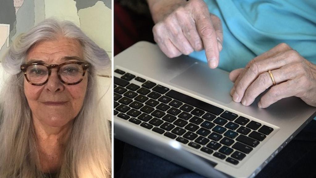 Porträttbild på Barbro Fridén, pensionär i Göteborg, och en närbild på händer tillhörande en äldre person som skriver på ett tangentbord.