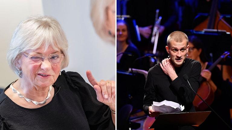 Pia Kjaersgaard från dansk Foleparti och författaren Jonas Eika.