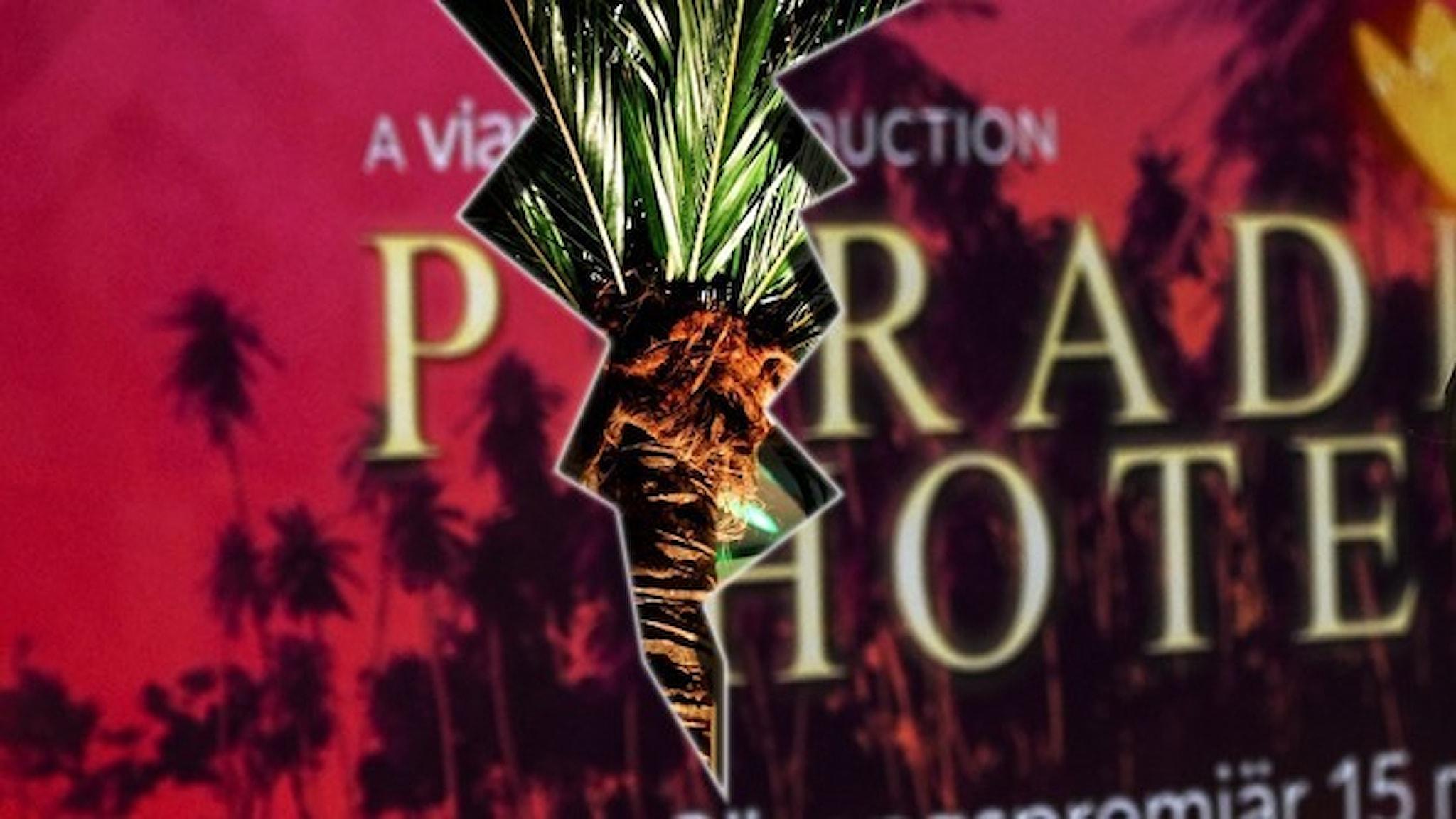 En affisch för dokusåpan Paradise hotel med en spricka rakt igenom.