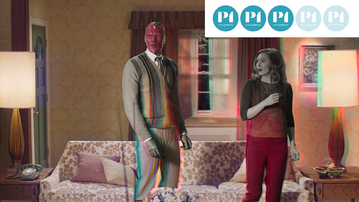 Vision och Wanda Maximoff i Marvel-tvserien Wandavision på Disney+.