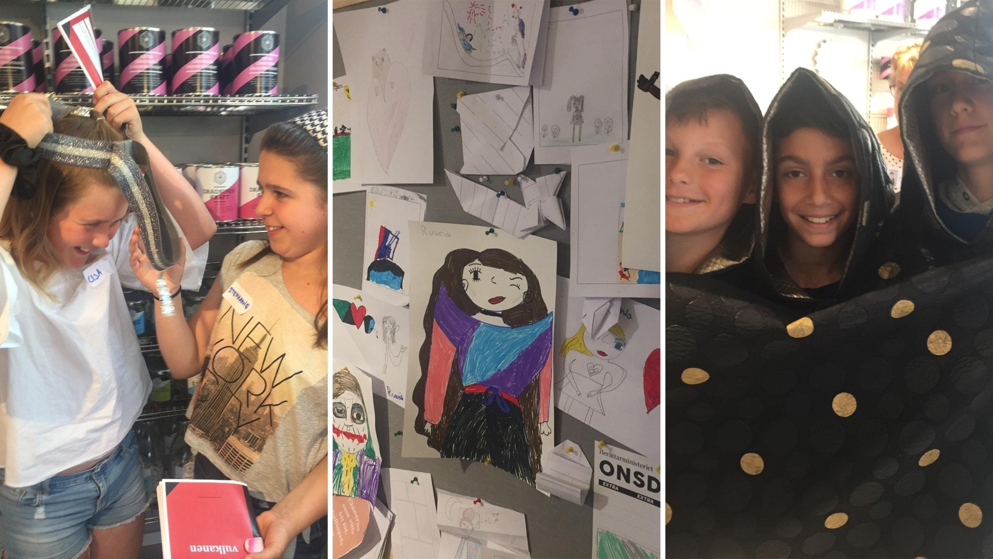 Elever från 5 E på Bergums skola i Göteborg besöker Berättarministeriet.