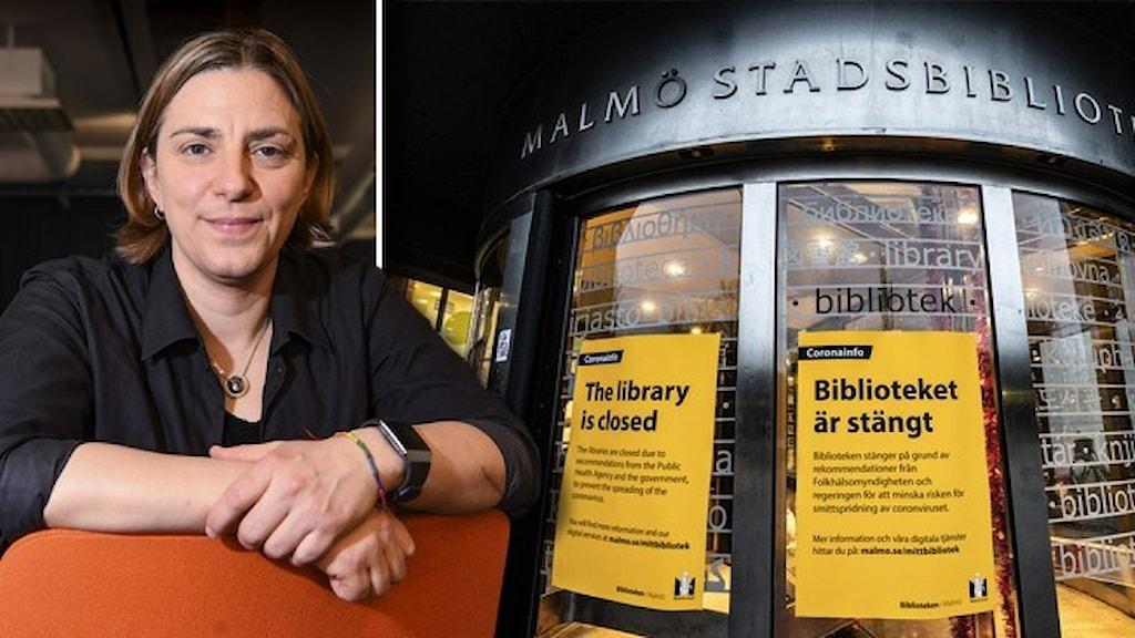 nna Troberg, förbundsordförande i fackförbundet DIK sitter med händerna på en orange fåtölj och ingången till Malmö stadsbibliotek med gula corona-skyltar.