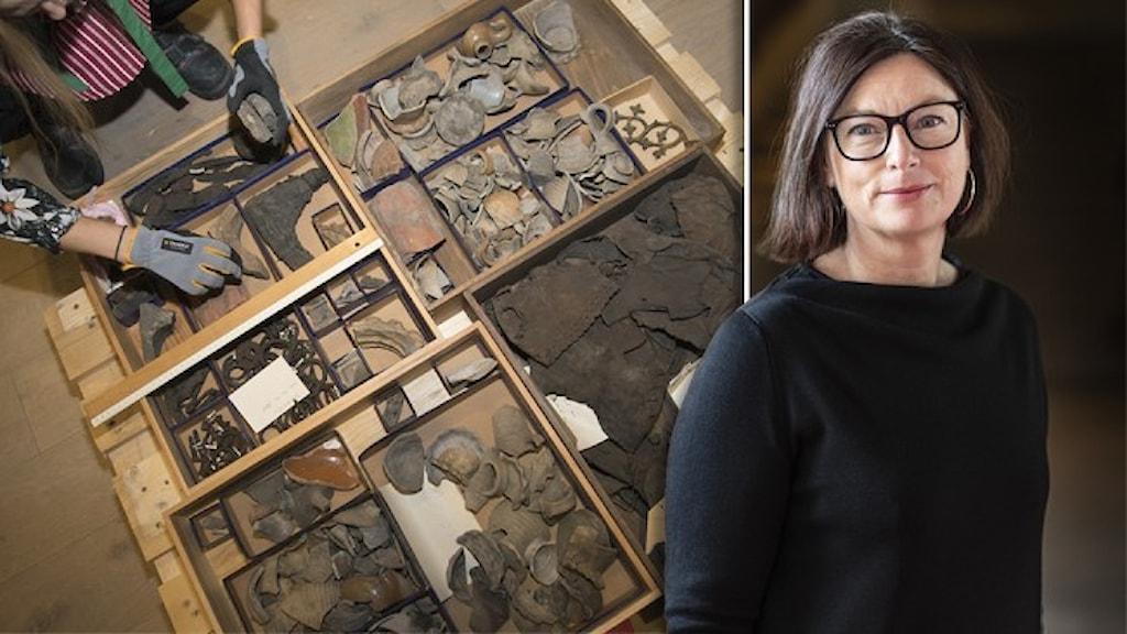 Några av de 10 miljoner fornfynd som finns hos Statens historiska museer - där Maria Jansén är chef.