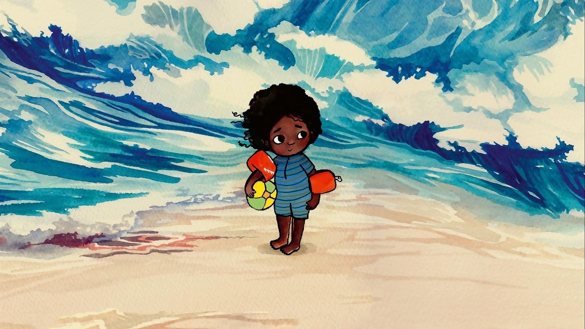 På bilden syns en illustrerad bild av en flicka som står framför höga vågor.