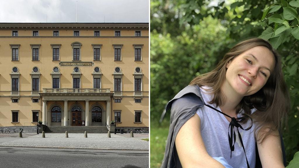 Universitetsbiblioteket Carolina Rediviva i Uppsala och studenten Elin Svanborg.