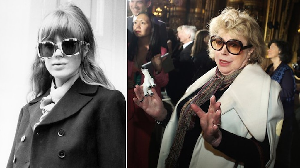 Två porträtt av Marianne Faithfull: Ett svartvitt från 1960-talet där hon bär kavaj och solglasögon. Ett från Stella McCartneys modevisning 2013 där hon bär liknande stora glasögon.
