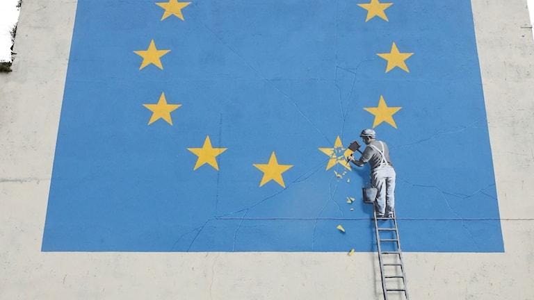 Banksys nya muralmålning i Dover.