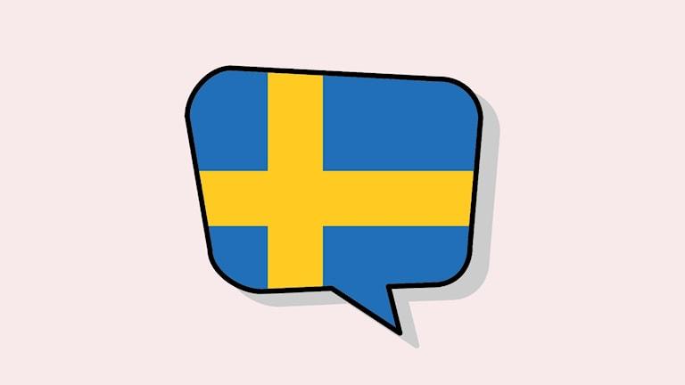 En svensk flagga inuti en pratbubbla.