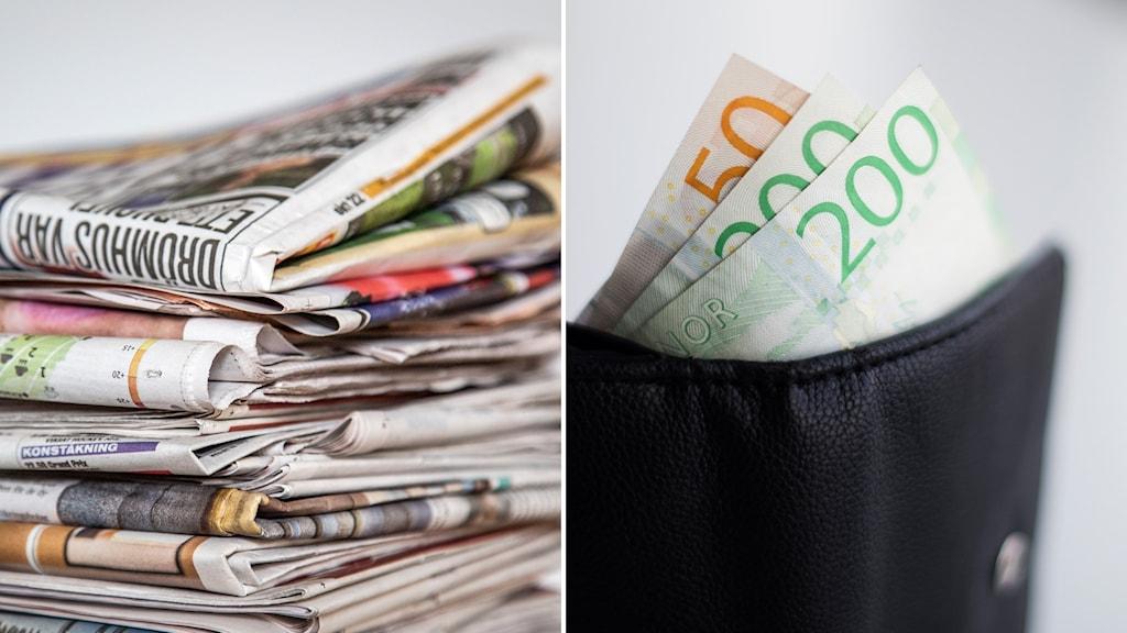 Papperstidningar och svensk valuta i plånbok.