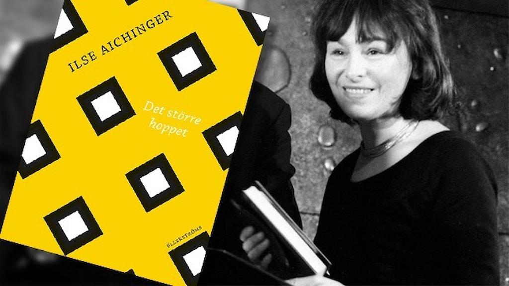 """Det gula omslaget till boken """"Det större hoppet"""" infällt på ett svartvit foto av författaren Ilse Aichinger."""