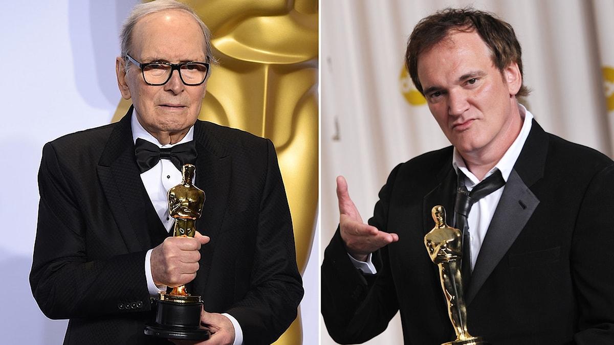Kompositören Ennio Morricone och filmregissören Quentin Tarantino.
