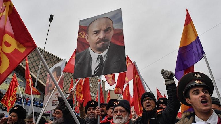 Hundraårsdagen av ryska revolutionen uppmärksammades i Moskva.