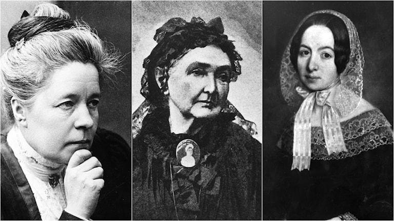 Selma Lagerlöf, Emilie Flygare-Carlén och Fredrika Bremer