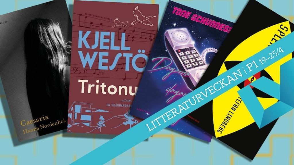 Omslagen till de fyra böcker som nominerats till Sveriges radios romanpris.