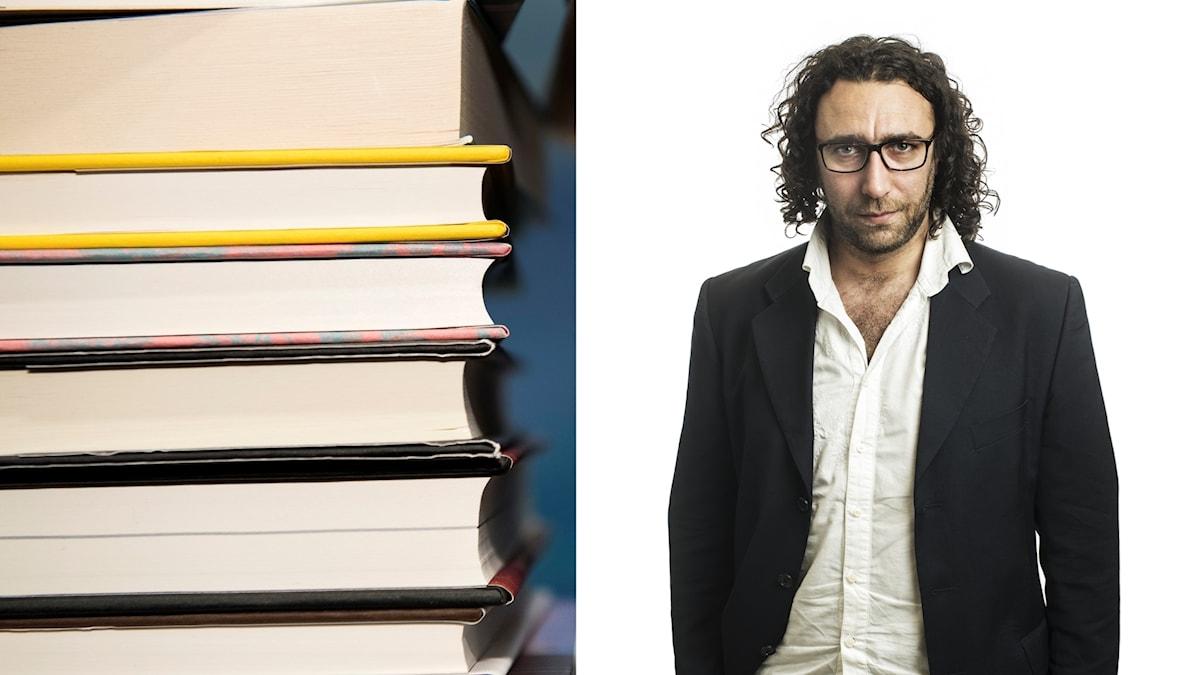 En trave böcker och poeten Ghayath Almadhoun.