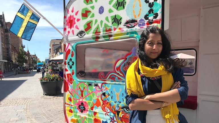 Saadia Hussain och hennes husvagn.