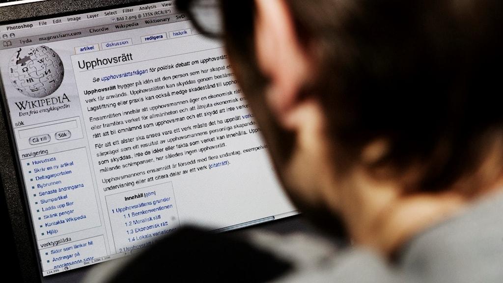 Bild på datorskärm med Wikipedias text om upphovsrätt på skärmen.