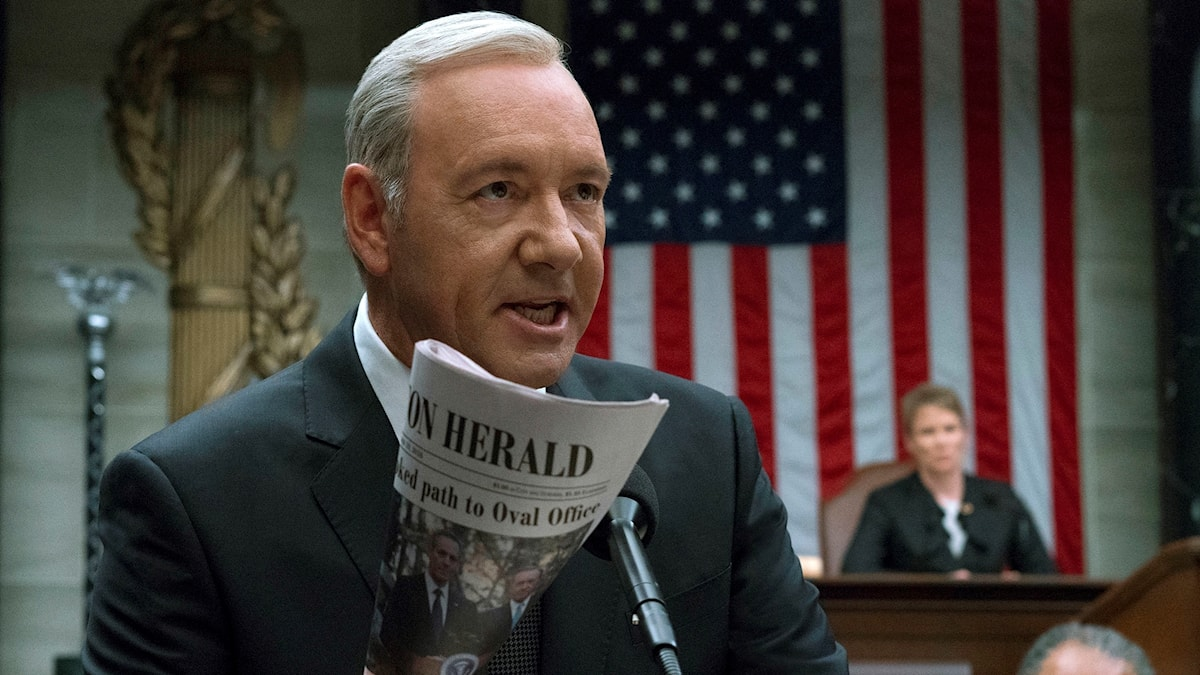 """Kevin Spacey spelar Frank Underwood i """"House of cards."""