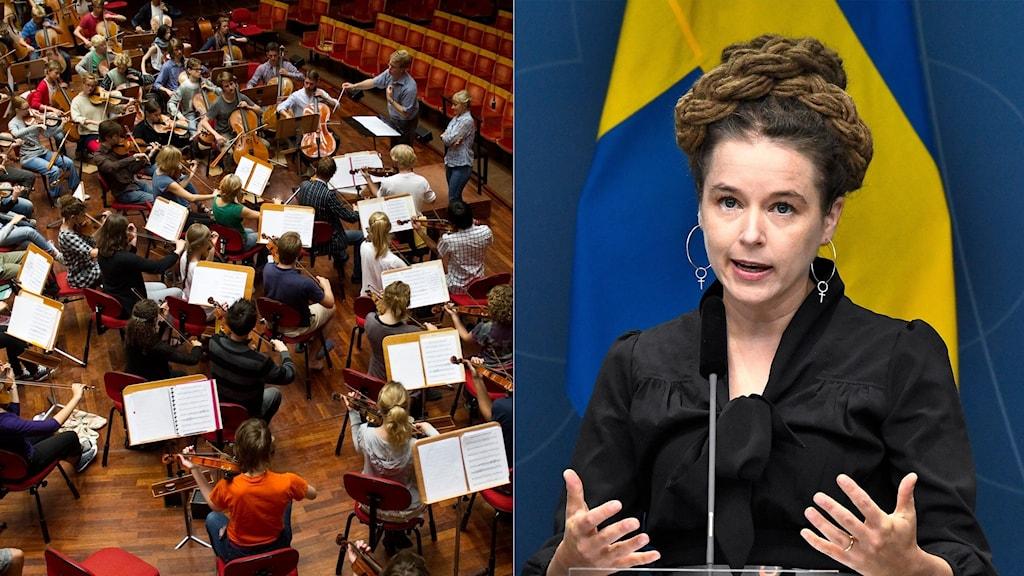 Orkester och Kultur- och idrottsminister Amanda Lind.