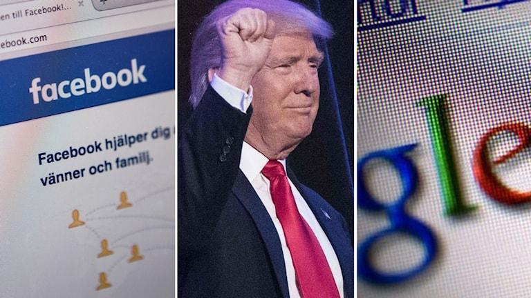 Diskussionen går het om hur Facebook och Google eventuellt påverkade valet i USA. Foto: Kollage