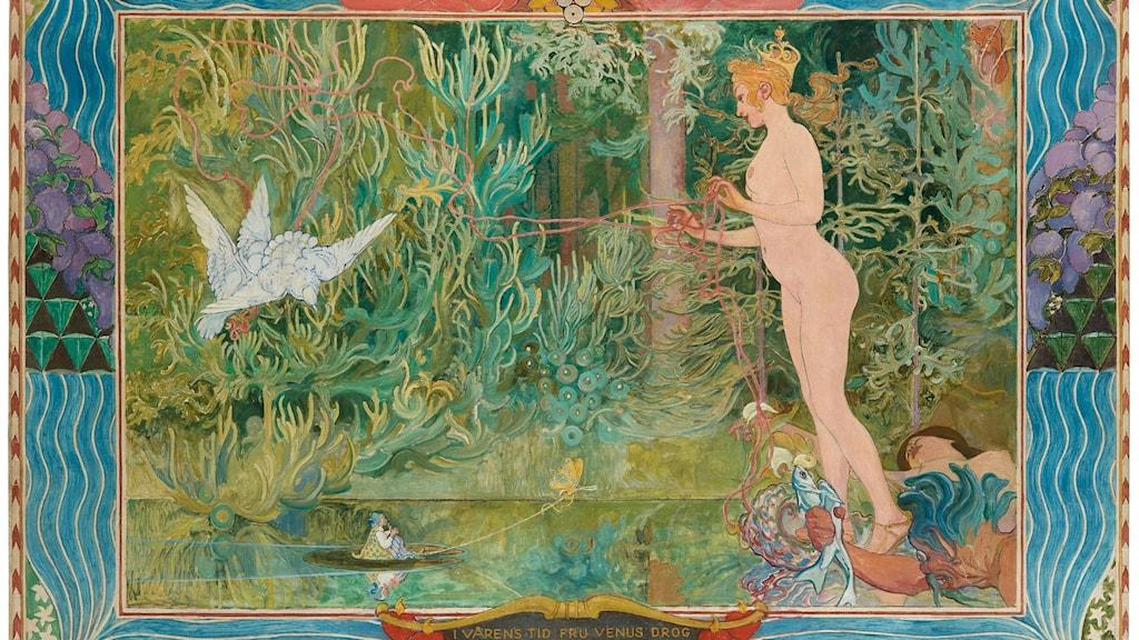 Carl Larsson,  Venus och tummelisa, 1904, förlaga till spegelvänd bildväv från 1909 i Nationalmuseum, olja på duk, 250 x 345 cm, privat ägo,