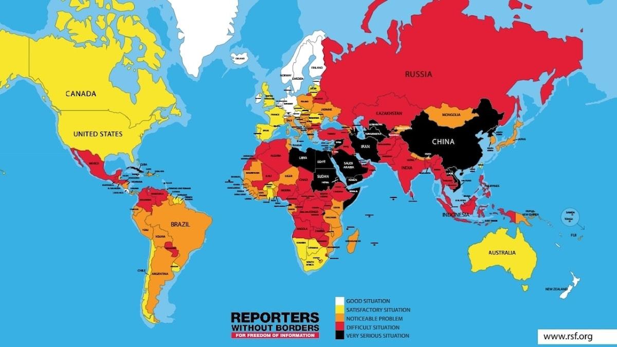 Årets pressfrihetskarta.
