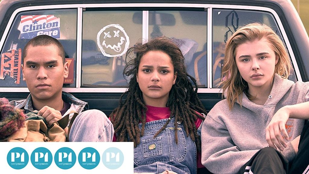 Forrest Goodluck, Sasha Lane och Chloë Grace Moretz i The miseducation of Cameron Post. Foto: Njutafilms.