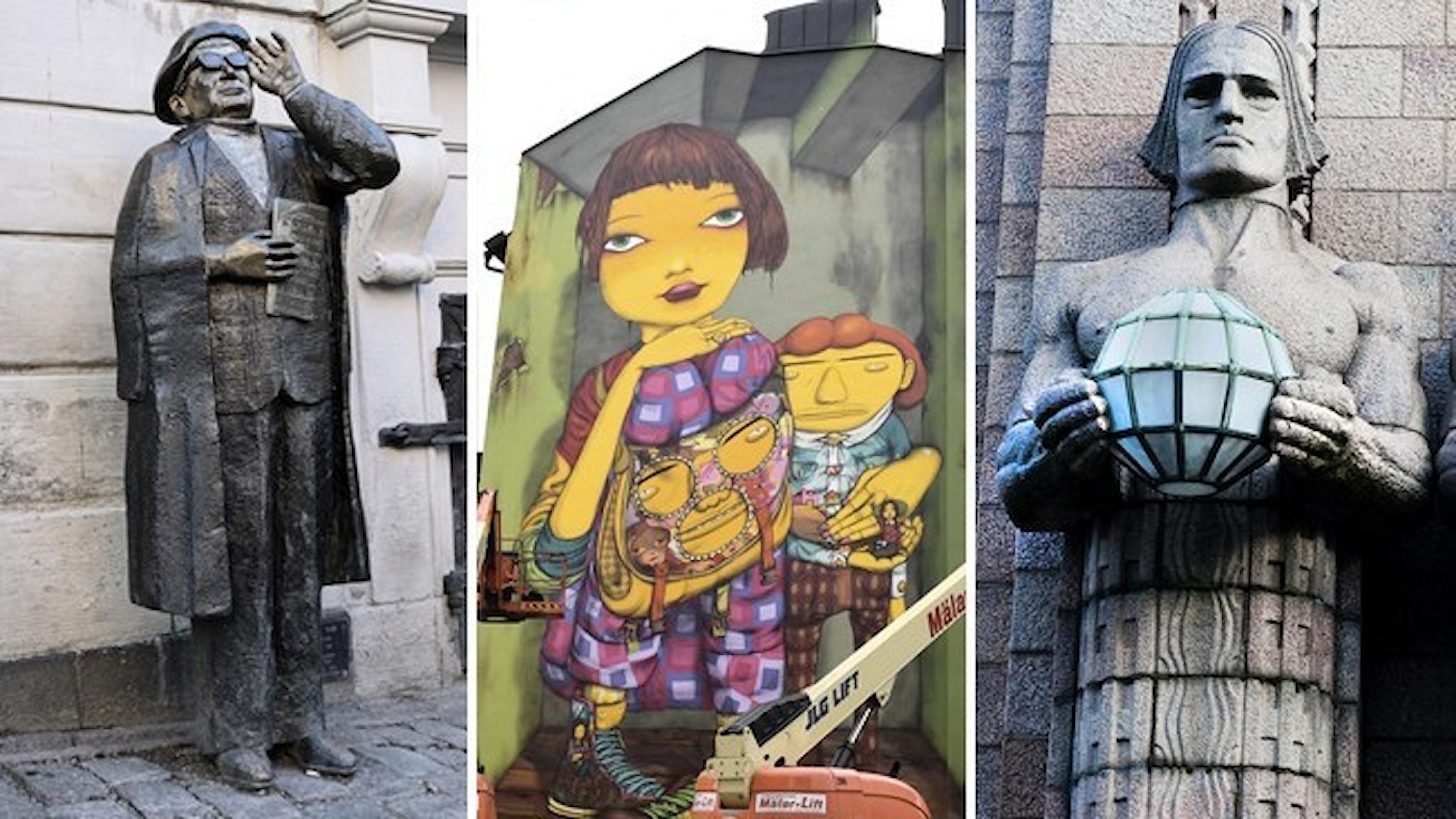 Staty av Evert Taube, en muralmålning av en gul figur och en staty från Helsingfors.